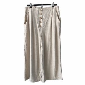 Beige Linen Wide Leg Pants 10